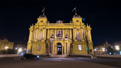 Amazing view of Croatian National Theatre at night in Zagreb, time lapse - stock footage