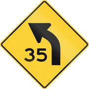 United States MUTCD road sign - Curve with advisory speed limit Stock Illustration