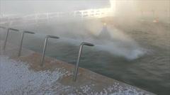 Wild hot spring in winter, Tyumen Stock Footage