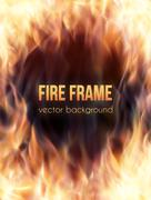 Burning fire frame. Vector Fiery Background Piirros