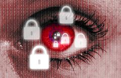 Padlock eye looks at viewer concept Stock Photos