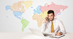 Business man with colorful world map background Stock Photos