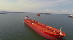 Aerial Flyover of Large Tanker Stock Footage