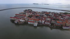Aerial shot of Casco Viejo, Casco Antiguo, San Felipe, Panama Stock Footage