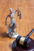 Themis Figurine and gavel Stock Photos