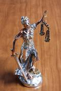 Silver statuette of Themis Stock Photos