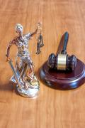Themis Figurine and gavel - stock photo