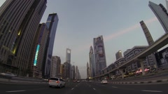 Dubai  city street view from car at night - stock footage