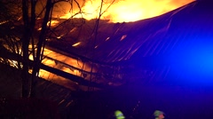 Collapsed Structure Burning Stock Footage