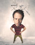 Big head person with drawn hammers Stock Photos
