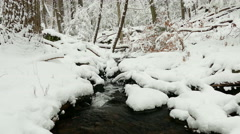 watercourse in winter forest - stock footage