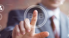 Businessman push online web B2B button icon - stock footage