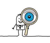 Hand drawn cartoon characters - big eye and magnifying glass Stock Illustration
