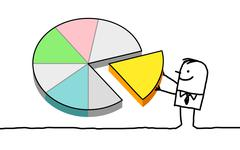 Stock Illustration of hand drawn cartoon characters - man and pie chart