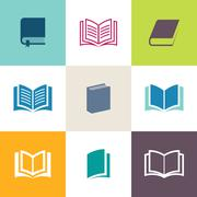 Vector book icons collection Stock Illustration