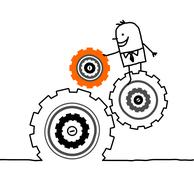 hand drawn cartoon characters - businessman and gears - stock illustration