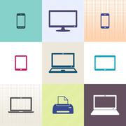 Vector digital device icons collection Stock Illustration