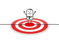 hand drawn cartoon character - man on red target - stock illustration