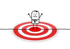 hand drawn cartoon character - man on red target - stock illustration