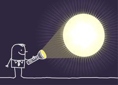 hand drawn cartoon characters - man & flashlight - stock illustration