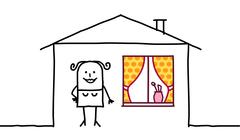 hand drawn cartoon characters - woman & house decoration - stock illustration