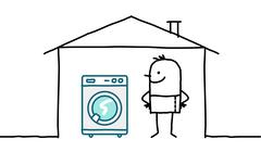 hand drawn cartoon characters - man in house & washing machine - stock illustration