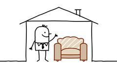 hand drawn cartoon characters - man in house & sofa - stock illustration