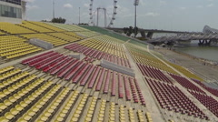 Aerial Flyover of Marina Bay Stadium Stock Footage