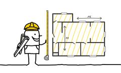 hand drawn cartoon characters - foreman measuring a plan - stock illustration