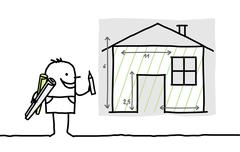 Hand drawn cartoon characters - man drawing house plan Stock Illustration