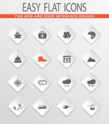 Skiing icons set Stock Illustration