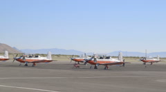 Fleet of Navy Planes on the Tarmac of an Airport - stock footage