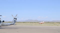 Navy Plane Races Down Runway Before Take-off Stock Footage