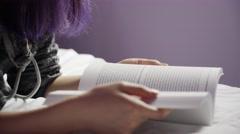 Closeup of hands open book Stock Footage