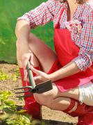 Woman with gardening tool working in garden Stock Photos