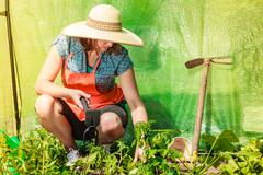 woman with gardening tool working in greenhouse - stock photo