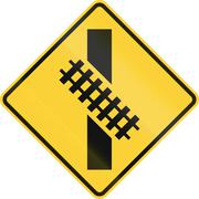 United States MUTCD road sign - Diagonal level crossing Stock Illustration