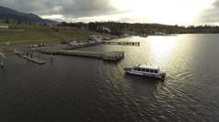 Aerial Water Taxi Returns to Harbor - stock footage