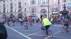 Bikers riding bikes in Piccadilly Circus in London Stock Footage
