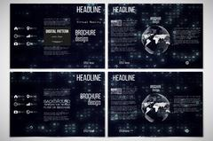 Set of tri-fold brochure design templates. Virtual reality, abstract technology Piirros