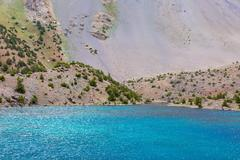 Stock Photo of Amazing colors of Mountain Lake and Rocky Moraine