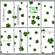 Set of modern flyers. St Patricks day vector background, green clovers on white - stock illustration