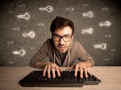 Hacker nerd guy with drawn password keys Stock Photos