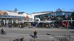 Torvehallerne, the covered food market halls in Copenhagen on a sunny spring day Stock Footage