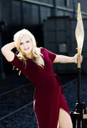 Blond Caucasian Woman Outdoor In Red Dress Stock Photos