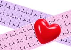 Heart analysis, electrocardiogram graph (ECG) and red heart Kuvituskuvat