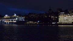 Cruise ship staying in the harbour of Stockholm at night, Sweden Stock Footage