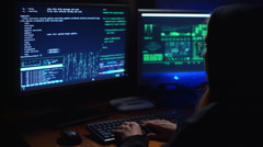 A girl hacker cracks a password Stock Footage
