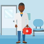 Doctor with first aid box - stock illustration