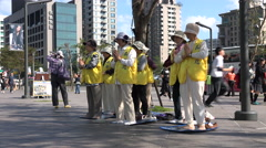 Stock Video Footage of Taiwan Falun Gong protest, practice, mainland Chinese tourists, contrast